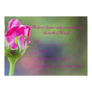 Pink rose bud 13 cm x 18 cm invitation card