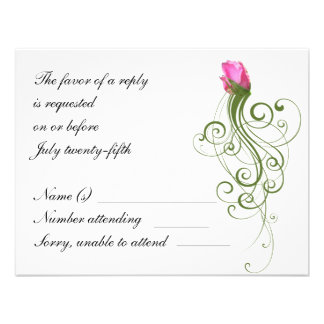 Pink Rose Bud Flourish RSVP Card Personalized Announcements