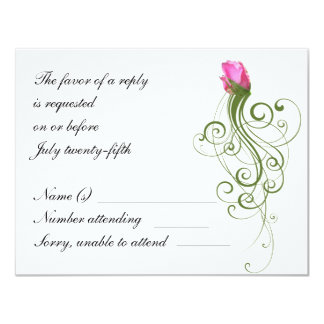 Pink Rose Bud Flourish RSVP Card 11 Cm X 14 Cm Invitation Card