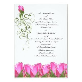 Pink Rose Bud Invitation