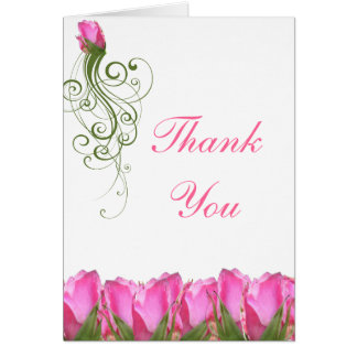 Pink Rose Bud Notecard Card