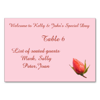 Pink Rose Bud Personalised Table and Name Sign Card