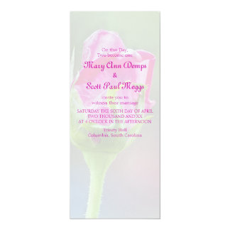 Pink Rose Bud Wedding Invitation