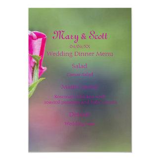 Pink Rose Bud Wedding Menu 13 Cm X 18 Cm Invitation Card