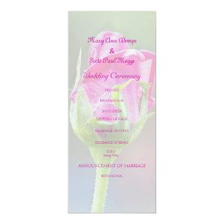 Pink Rose Bud wedding program 10 Cm X 24 Cm Invitation Card