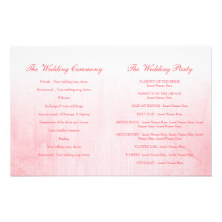 Pink rose bud wedding programme 14 cm x 21.5 cm flyer