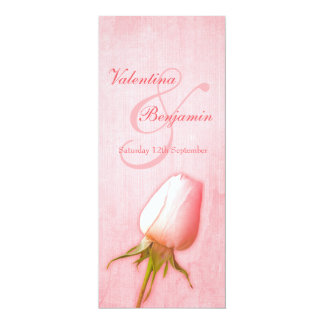Pink rose bud wedding reception dinner menu invitation
