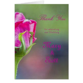 Pink Rose Bud Wedding thankyou Note Card