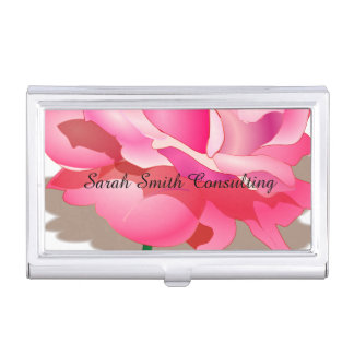Pink Rose Business Card Holder
