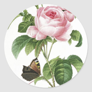 Pink Rose Butterfly Envelope Stickers