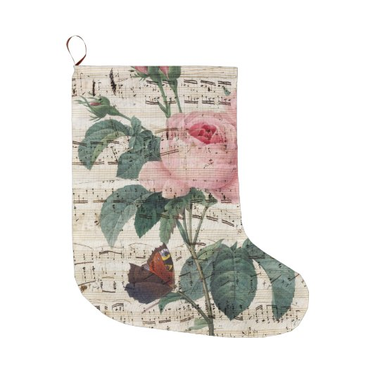 Pink Rose Butterfly Music Large Christmas Stocking