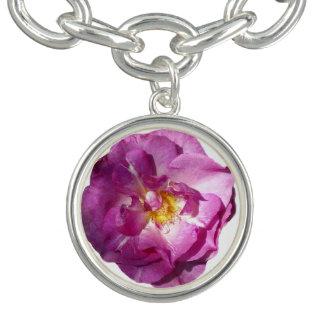 Pink Rose Charm Bracelet, Silver Plated