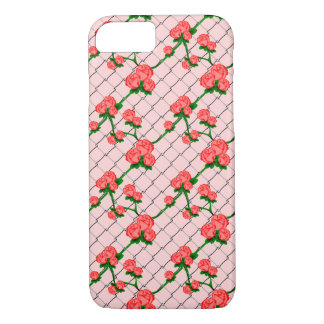 Pink Rose Climbing Chain Link Fence Seamless Patte iPhone 7 Case