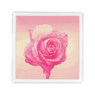 Pink Rose (Comic Book Halftone Style) Acrylic Tray