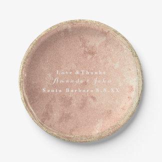 Pink Rose Copper Gold Bridal Name Wedding Paper Plate