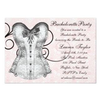 Pink Rose Corset Pink Black Bachelorette Party Card