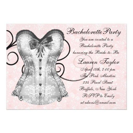 Pink Rose Corset Pink Black Bachelorette Party Custom Announcement