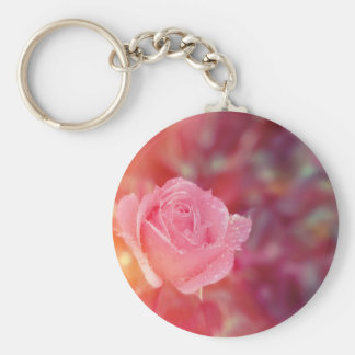 Pink rose covered by morning dew key ring