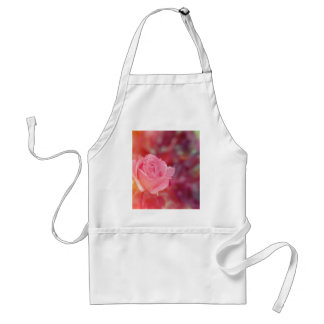 Pink rose covered by morning dew standard apron