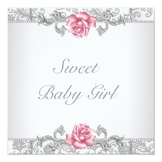 Pink Rose Damask Baby Girl Shower Card