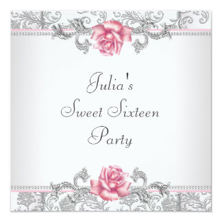 Pink Rose Damask Pretty Pink Sweet Sixteen Party 13 Cm X 13 Cm Square Invitation Card
