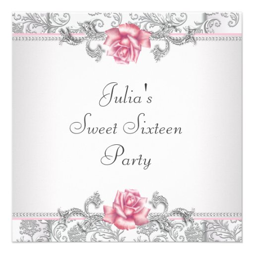 Pink Rose Damask Pretty Pink Sweet Sixteen Party Custom Invitation