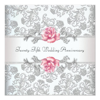 Pink Rose Damask Silver 25th Wedding Anniversary 13 Cm X 13 Cm Square Invitation Card