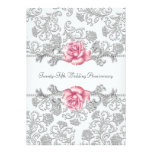 Pink Rose Damask Silver 25th Wedding Anniversary Personalized Announcement