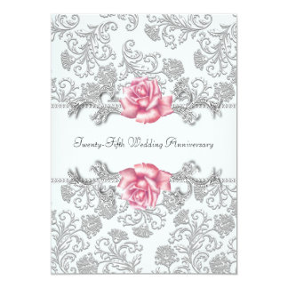 Pink Rose Damask Silver 25th Wedding Anniversary Personalized Announcements