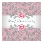 Pink Rose Damask Womans 50th Birthday Party Invitations