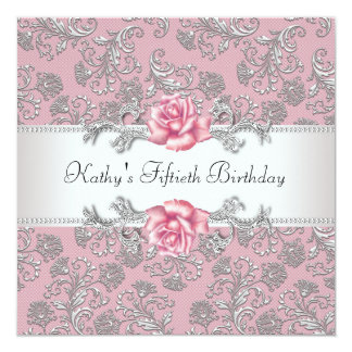 Pink Rose Damask Womans Birthday Party 5.25x5.25 Square Paper Invitation Card