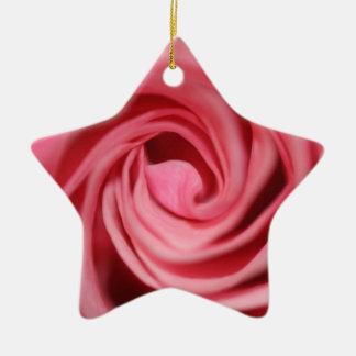Pink Rose Ceramic Star Decoration