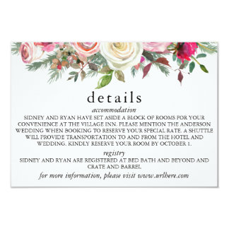 PINK ROSE Details Card for Wedding Invitation