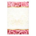 Pink Rose Elegance Custom Stationery
