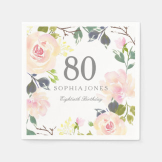 Pink Rose Elegant 80th Birthday Party Disposable Serviette