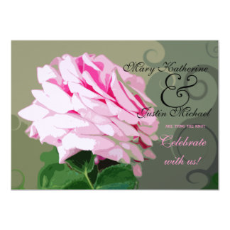 Pink Rose Engagement Party Custom Invitations