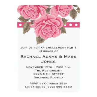 "Pink Rose Engagement Party Invite 4.5"" X 6.25"" Invitation Card"