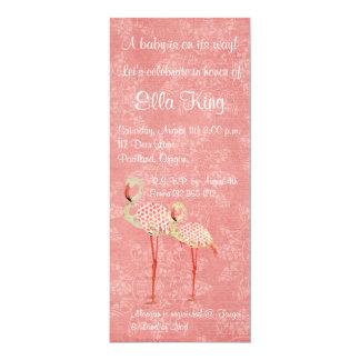 "Pink Rose Flamingos Baby Invitation 4"" X 9.25"" Invitation Card"