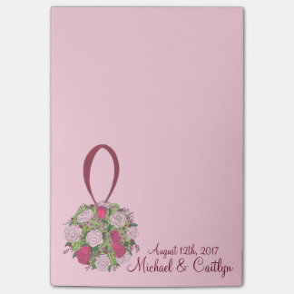 Pink Rose Floral Ball Bouquet Wedding Post Its Post-it Notes