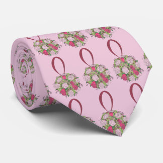 Pink Rose Floral Bouquet Flowers Wedding Tie