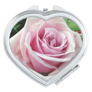 Pink Rose Floral Compact Mirror