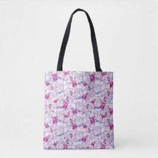 Pink Rose Floral Pattern Tote Bag