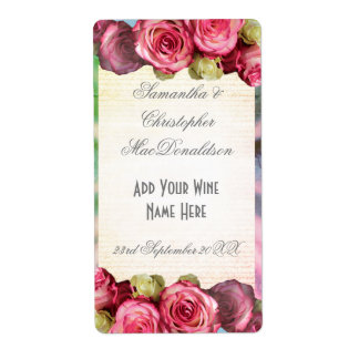 Pink rose floral romantic wedding wine bottle shipping label