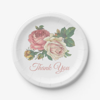 Pink Rose Floral Thank You Wedding Flowers Paper Plate