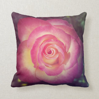 Pink rose floral throw pillow