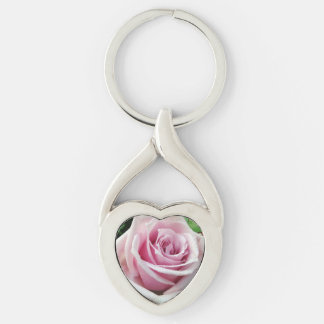 Pink Rose Floral Twisted Heart Metal Keychain