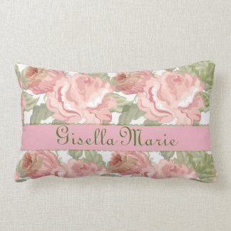 Pink Rose Floral Vintage Name Text Personalize Lumbar Cushion
