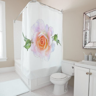 Pink Rose, floral watercolor painting art Shower Curtain