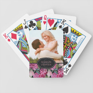 Pink Rose Floral Watercolor - Wedding Photo Bicycle Playing Cards