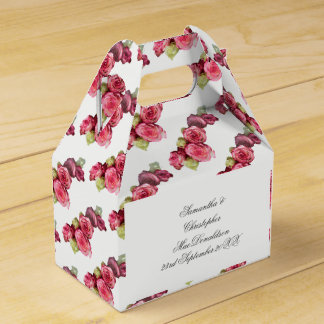Pink rose floral wedding bouquet favour box